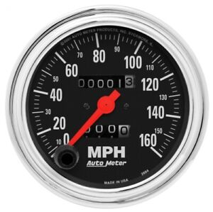"""Auto Meter 2494 3-3/8"""" Traditional Chrome Mechanical Speedometer 0-160MPH NEW"""