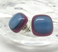 Fused Glass Stud Earrings with Blue, Pink Tones, Jan Art Jewelry,Gift Boxed