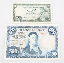 1954 Spain Peseta Notes Lot (2) 5 ₧ XF+ P#146a, 500 ₧ VF P#148a Banco de Espana