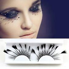 1 Pair Black Angled Feathers False Fake Eyelashes Eye Lashes Party Fancy Dress