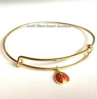 Ladybug Charm Bracelet Gold Plated Lady Bug Red Adjustable