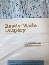 Vintage Pair Montgomery Ward 48 X 84 Blue Ready Made Drapery Insulated Curtain