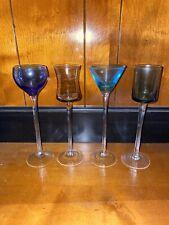 Multi-Colored Liqueur Glasses Multi Shaped Blown Glass Set of 4 Dessert Cordial
