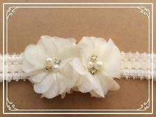 Twin Cream Flower Headband for baby / toddler / girl