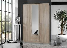 German 3 Door 135cm Oskar Oak Mirror Bedroom Wardrobe with Drawers