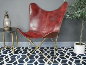 Leather Butterfly living room chair with gold Iron Pipes