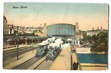 1910  Zurich Switzerland Bahnhof Railway Station Postcard