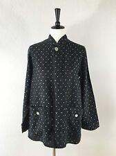 CHICOS Linen Jacket Womens Size 0 Gray Mandarin Collar Pockets Boho Artsy S M