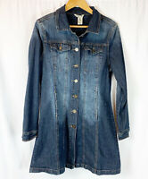 Indigo Rein Denim Jean Jacket L Long Duster Size Large Blue Pockets