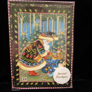 Christmas Holidays Card//Mary Engelbreit//embossed//Girl on park bench