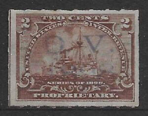 O. V. HANDSTAMP CANCEL 2c RB27 1898 Proprietary Battleship Revenue Stamp