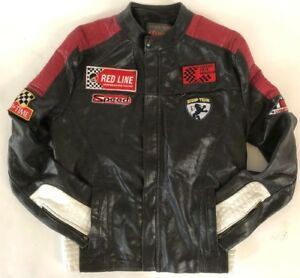 vtg Scoop Cuir black leather made France racing patches biker jacket womens M