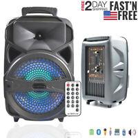 "8"" 1000W Portable LED Bluetooth Super Bass FM Stereo Loudspeaker Tailgate Loud"
