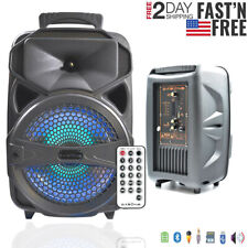 """8"""" Party Bluetooth Speaker System Led Portable Loud up to 1000W FM Mode + Remote"""