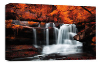 Le Reve Waterfall Landscape Wall Art Canvas Forrest Picture Orange Grey White