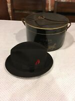 VINTAGE DOBBS FIFTH AVENUE BLACK BEAVER FELT FEDORA MEN'S HAT SIZE 7