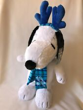 """Snoopy Holiday Porch Greeter Chasing Snowflakes 22"""" Peanuts Plush Stuffed Animal"""