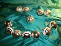 ~ 12 antike Christbaumkugeln Glas silber weiß Streifen Zweige Weihnachtskugeln