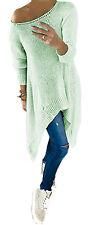 Damen Schulterfrei Longshirt Strickpullover Tunika Assymetrisch OVERSIZE (659)