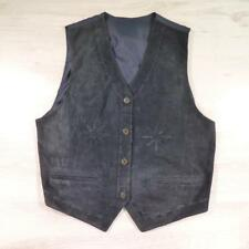 Ladies Vintage Blue SUEDE WAISTCOAT Vest Boho Festival Large #B2766
