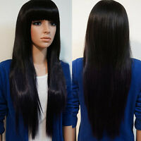 Women Long Brazilian Black Straight Natural Remy Wig Hair Bangs Full Wigs Decor