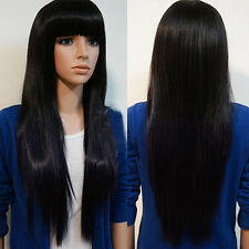 Women Brazilian Black Straight Natural Hair Wig Hair Old Full Wigs UK
