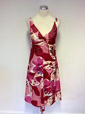 EMPORIO ARMANI PINK,RED,WHITE & GREY PRINT SILK DRESS SIZE 40 UK 8
