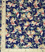 Vintage Concord Fabrics Sharon Kessler Cherubs Angels Navy Blue BTHY NOS 18 X 44