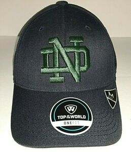 """Notre Dame Fighting Irish Navy with Block """" ND """" Top of the World One Fit Hat"""