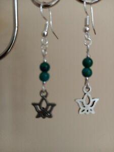 Green Jade gemstone & silver lotus flower drop dangly earrings ~ Reiki chakra