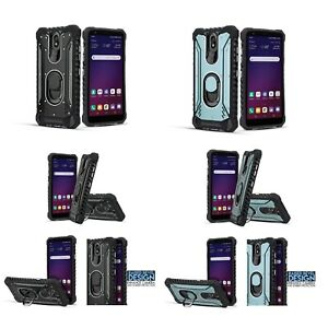 """for 5.5"""" LG Escape Plus Metal Jacket Ring Stand Hybrid Armor Bumper Phone Case"""