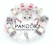 Authentic Pandora Bracelet Hello Kitty 6.7-7.1 Pink European Charms New