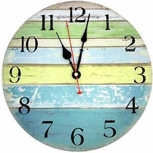 TOPPTIK Rustic Beach Wall Clock-12 Inch Coastal Silent Non-Ticking Battery