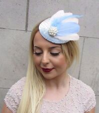 Duck Egg Light Blue Cream Velvet Feather Pillbox Hat Fascinator Hair Clip 2604