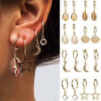 Cute Rose Star Conch Moon Shell Cross Cupid Dangle Hoop Earrings Jewelry Gift Pr