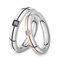 Couples CZ Black/Rose Gold GP Surgical Stainless Steel Ring Size 5 6 7 8 9 10