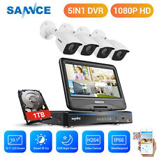 """SANNCE 10.1""""LCD Monitor 5IN1 4CH DVR 3000TVL Outdoor CCTV Camera Security Kit 1T"""