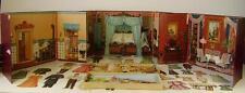 3 Antike Puppenstuben Kulissen mit Puppen Pappe Oblaten um 1880