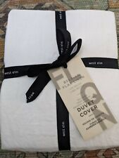 New With Tags West Elm Belgian Flax Linen Duvet Cover Full/Queen White w/2 Shams
