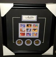 RARE DISNEY'S ALADDIN 5th ANNIVERSARY LIMITED EDITION STAMPS & BRONZE MEDALLIONS
