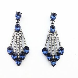 blue/ navy  CLEAR  rhinestone /crystal evening earring fashion jewelry m e 12