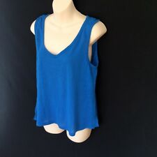 BARDOT 100% LINEN KNIT TANK SLEEVELESS TOP VEST RELAXED CASUAL BLUE V NECK s 12