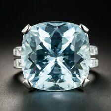 Aquamarine & Baguette Accents Cz Ring Beautiful Bright & Sunny Sky Blue 28.41Ct