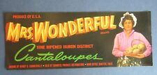 Old Vintage - MRS. WONDERFUL - Cantaloupes - MELON LABEL - Shafter CA.