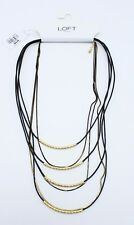 New Multi Strand Genuine Leather Necklace with Gold Accents by LOFT #AT13