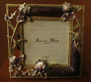 "ASHLEIGH MANOR MAUVE ENAMEL & RHINESTONE ""IRIS"" PICTURE FRAME"