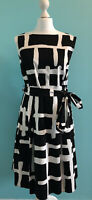 Ladies Monochrome Belted Dress Principles Size 18 Knee Length Fully Lined