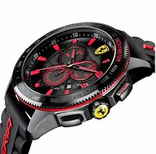 Men's Scuderia Ferrari 830138 Chronograph Black Red Silicone Sport Car Watch