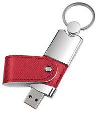 PENDRIVE USB 8 GB in METALLO e PELLE ROSSA PERSONALIZZATA con INCISIONE!!!