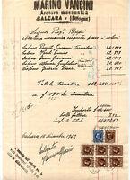 1942 FATTURA PER ARATURA MECCANICA A CALCARA BOLOGNESE CON MARCHE DA BOLLO